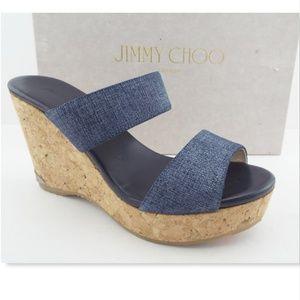 NIB JIMMY CHOO Blue Denim Logo Wedge Sandals 37.5